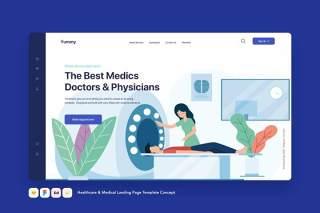 医疗保健和医疗登录页模板医院CT检查概念EPS矢量插画设计Healthcare & Medical Landing Page Template Concept