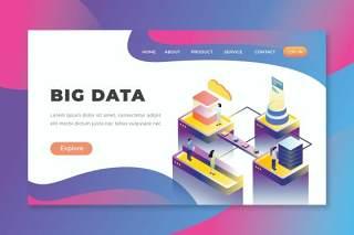 大数据-PSD和AI矢量2.5D等距插画登录页界面设计素材Big Data - PSD & AI Vector Isometric Landing Page