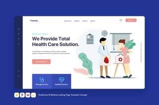 医疗保健和医疗登录页模板医生概念EPS矢量插画设计Healthcare & Medical Landing Page Template Concept