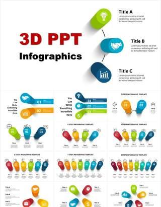 三维立体信息图表3D流程图图形PPT素材3D_Infographics