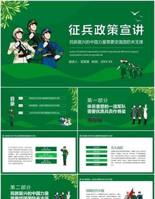 征兵政策宣讲民族复兴的中国力量需要坚强国防来支撑动态PPT模板