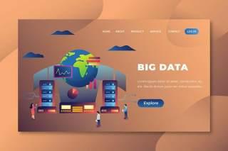 大数据-PSD和AI矢量插画登录页界面设计素材Big Data - PSD and AI Vector Landing Page