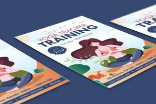 女孩瑜伽训练单页EPS插画素材设计模板Beautiful Girl Yoga Training Flyer Illustrator
