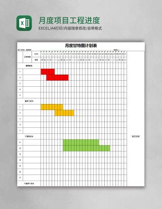 月度甘特图项目工程进度表excel模板