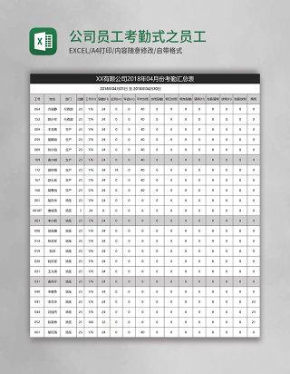 公司员工考勤表格式模板之员工考勤汇Excel表格