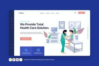医疗保健和医疗登录页模板医生听诊概念EPS矢量插画设计Healthcare & Medical Landing Page Template Concept