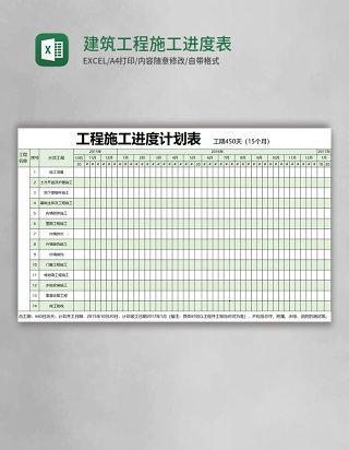 建筑工程施工进度表Excel表格