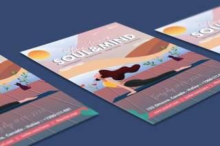 美丽女孩瑜伽训练传单插画EPS矢量素材单页设计模板Beautiful Girl Yoga Training Flyer Illustrator
