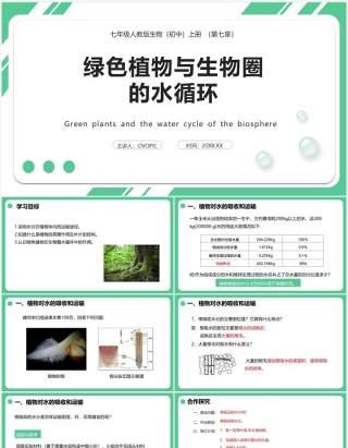 人教版七年级生物上册绿色植物与生物圈的水循环课件PPT模板