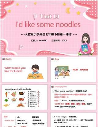 人教版七年级英语下册I'd like some noodles第一课时教育课件PPT模板