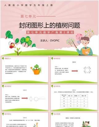 部编版五年级数学上册封闭图形上的植树问题课件PPT模板