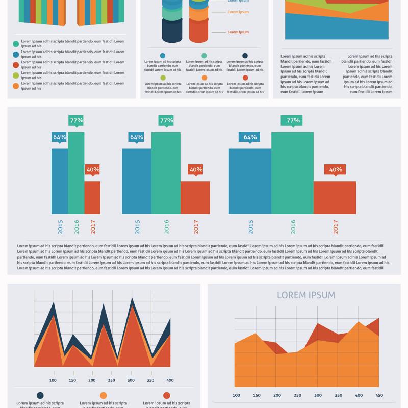 大型信息图形元素集合海报/PPT可编辑矢量素材