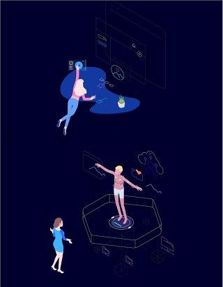 VR AR虚拟现实概念插画人物矢量素材