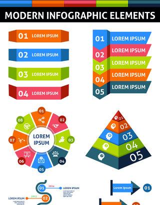 条状现代信息图形元素海报/PPT可编辑矢量素材