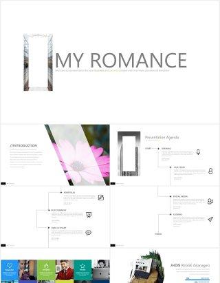 简约工作汇报拼图信息图表PPT图片版式模板my romance powerpoint