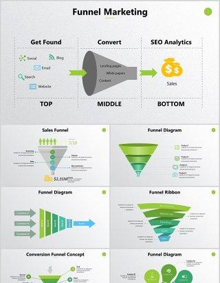 营销转换概念销售漏斗环形图形PPT信息图表可编辑元素