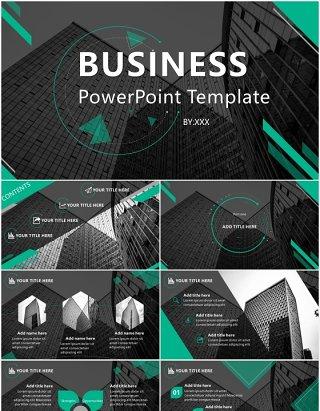 大气黑绿撞色英文商务商业计划总结报告PPT模板