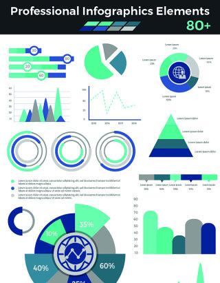 专业信息图形元素(绿色)海报/PPT可编辑矢量素材