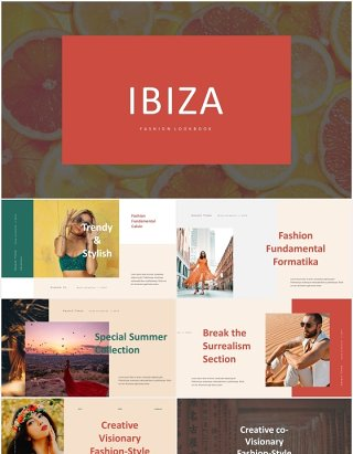 时尚优雅模特摄影展示PPT模板IBIZA - Stylish & Elegant Powerpoint Template