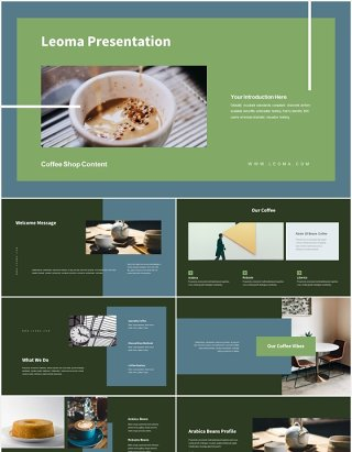 绿色商业咖啡店宣传介绍PPT模板Leoma-Coffee Shop Powerpoint