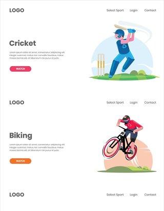 4组运动打球骑行人物插画素材