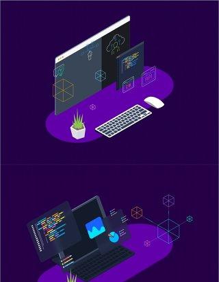 区块链平台2.5D等距插画矢量素材等距图 Blockchain Platform Isometric Illustration