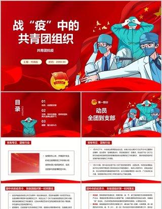 战疫中的五四共青团组织共青战疫党课党建党政ppt模板
