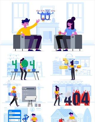 30组扁平化商业插画矢量图适用于网页手机APP界面设计