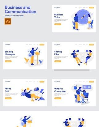 商务沟通信息业务商业人物办公场景矢量素材插画
