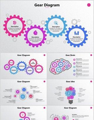齿轮大脑图形信息分析图表PPT可编辑元素素材