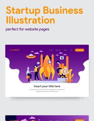 5组商务WEB网页启动插画素材UI界面设计模板