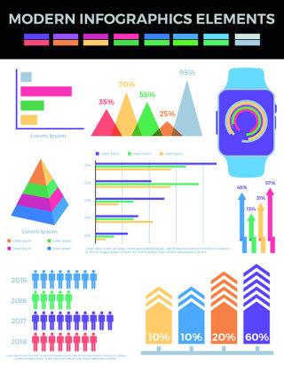 箭头问号灯泡饼图现代信息图形元素海报/PPT可编辑矢量素材