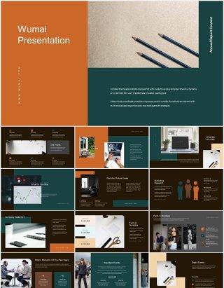 深色时尚公司企业年报宣传介绍PPT模板Wumai-Annual Report Powerpoint