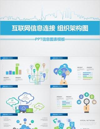 原创互联网信息连接组织架构图PPT信息图表模板