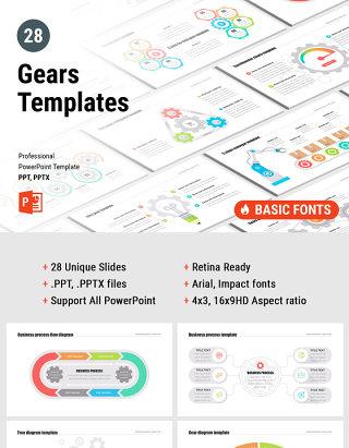 齿轮PPT幻灯片演示 PowerPoint Gears template