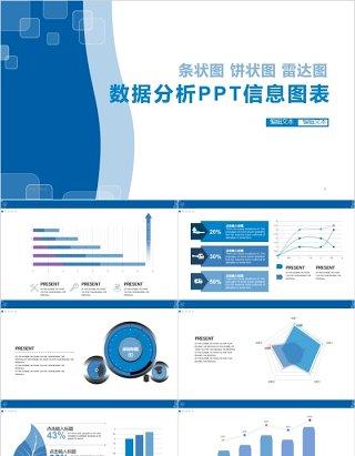 条状图雷达图数据分析PPT信息图表