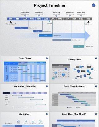 工作项目重大事件时间表年月日甘特图计划日历图表表格PPT可编辑素材
