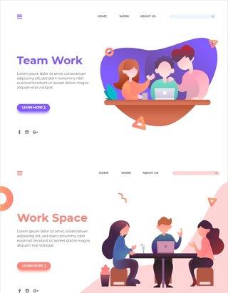 团队沟通工作场景PSD插画AI矢量素材