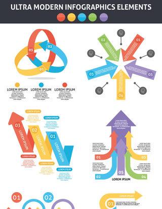 超现代信息图形元素集海报/PPT可编辑矢量素材