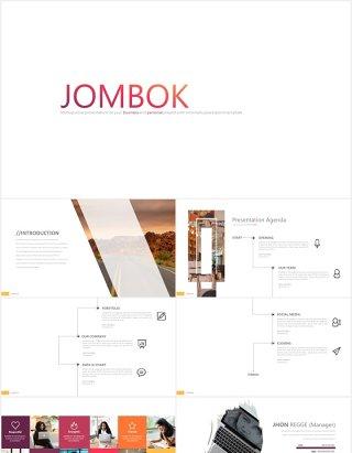 简洁创意拼图可视化PPT素材模板jombok powerpoint