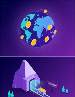 2.5D插画区块连货币场景矢量素材