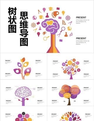 彩色树状图思维导图PPT信息图表模板