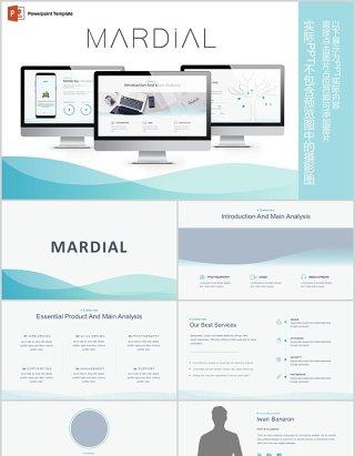 简约公司介绍产品简介PPT信息图表模板Mardial Powerpoint Template