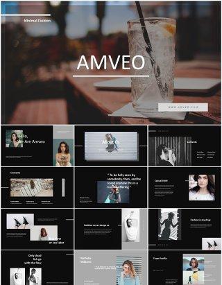 黑色时尚商务宣传介绍PPT模板Amveo-Fashion Business Powerpoint