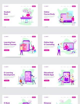 10套在线教育场景插图AI矢量人物插画素材
