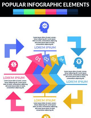 齿轮流行信息图表海报/PPT可编辑矢量素材