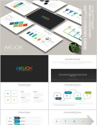 商务并列信息图表可视化演示PPT图片排版素材模板AKUOK Powerpoint