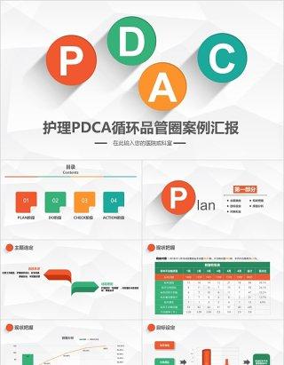 简约扁平医院护理pdca循环品管圈案例汇报PPT模板