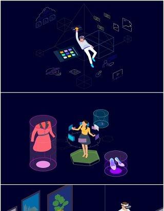 14款AR和VR互联网科技虚拟现实技术场景AI插画人物矢量素材