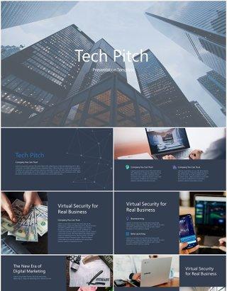 商业项目宣传技术推介展示PPT模板tech pitch powerpoint template